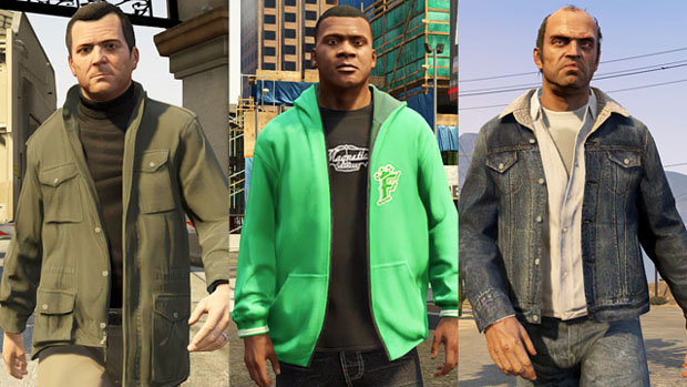 Michael, Franklin and Trevor each sporting some of the unique additions to their personal wardrobes.